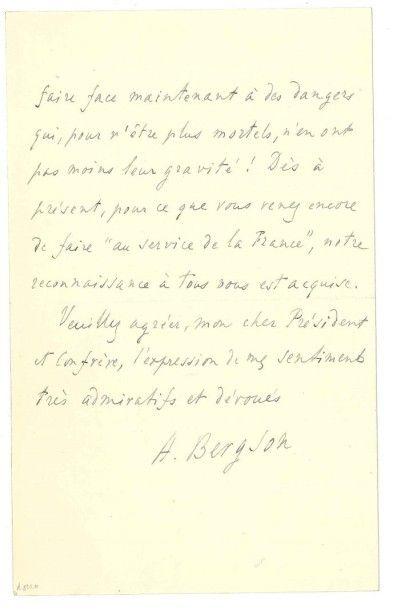 Henri BERGSON (1859-1941) Philosophe. [AF] 6 L.A.S., 1903-1927, à divers; 14 pages...