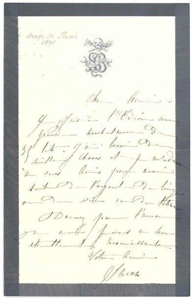Sarah bernhardt (1844-1923) Actrice. L.A.S. «Sarah», [1870-1871]; 1 page in-8 (deuil...