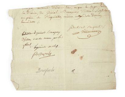 NAPOLÉON Pièce autographe signée ?Bonaparte?...