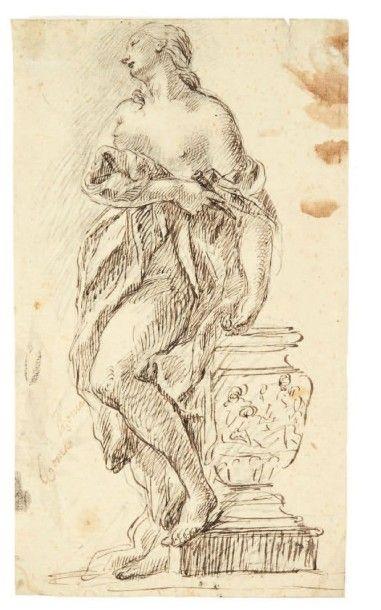 ATTRIBUÉ À FRANCESCO FONTEBASSO (VENISE 1707 - 1769) La suicide de Lucrèce (?) Encre...