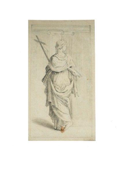 Ecole Italienne de la fin du XIXe siècle Une sainte portant une croix Craie noire...