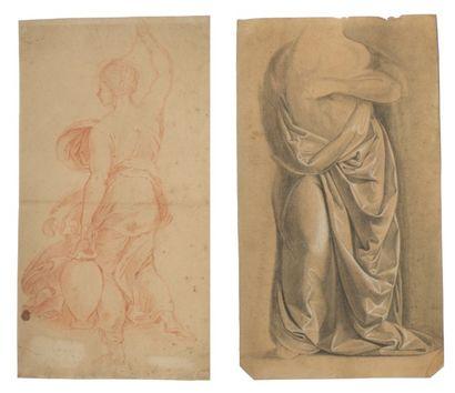 D'APRÈS RAPHAËL Une femme portant des vases Sanguine sur papier (taches). H_400 mm...