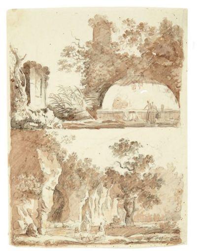 ÉCOLE ROMAINE de la fin du XVIIe siècle Deux études de deux paysages classiques animés...