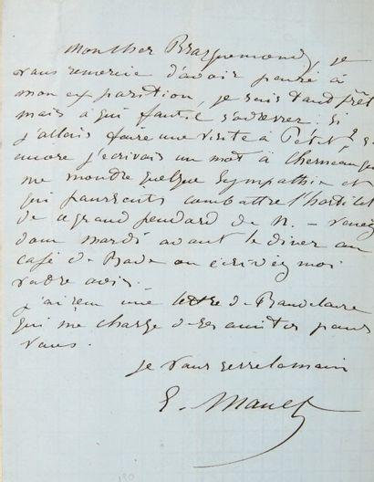 MANET (Édouard) Correspondance adressée à Félix Bracquemond. Paris, Arcachon, Boulogne-sur-Mer...