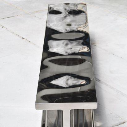 POL QUADENS (NÉ EN 1960) Prototype Table basse / Banc modèle «H» Acier inoxydable...