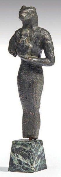 STATUETTE DE BASTET. Statuette votive représentant...