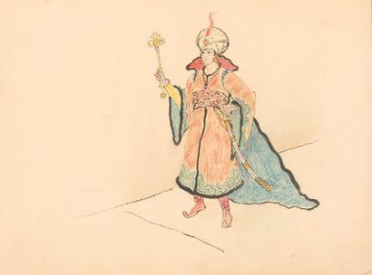 Armand Rassenfosse (1862-1934) Orientale au sceptre Projet pour servir à l'illustration...