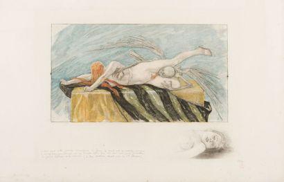 Félicien Rops (1833-1898) L'agonie (de Sainte Thérèse) Gravure originale en couleurs...