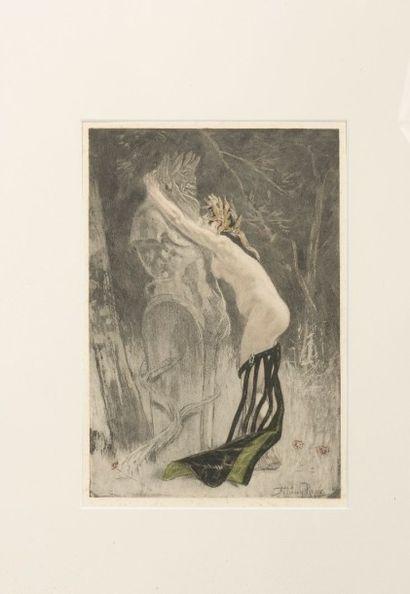 Félicien Rops (1833-1898) Hommage à Pan Gravure originale en couleurs au repérage...