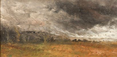Guillaume VOGELS (1836-1896) L'approche de l'orage, 1865 Huile sur panneau. H_19...