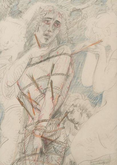 Victor Servranckx (1897-1965) Saint Sébastien, 1952 Crayon de couleurs sur papier....