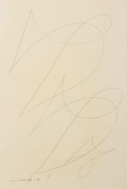 Victor Servranckx (1897-1965) Composition abstraite, 1949 Crayon brun sur papier....