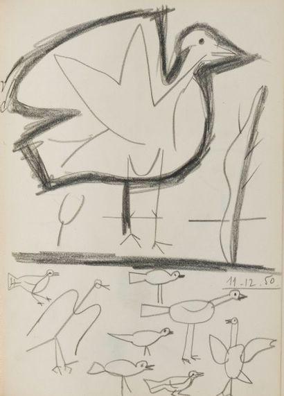 René Guiette (1893-1976) Black sketchbook 1949-1951 Comprenant 43 dessins (un dessin...