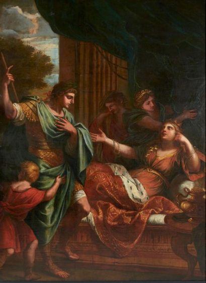 ATTRIBUÉ À CHARLES ERRARD (1606-1689) La rencontre d'Antoine et Cléopâtre Toile....