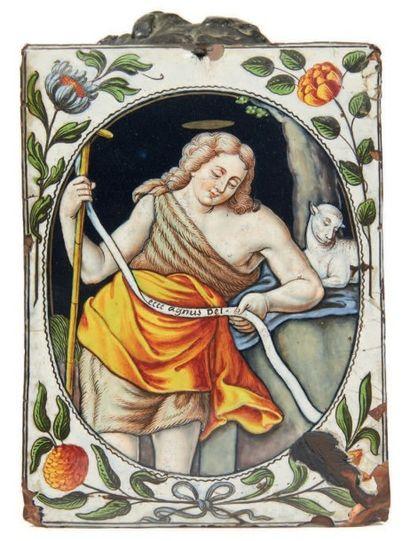 PLAQUE en émail peint polychrome représentant...