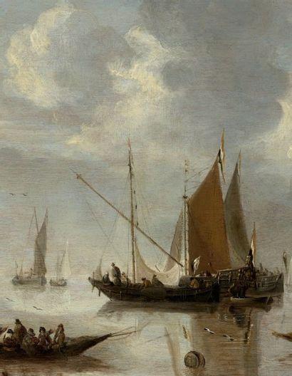 JAN VAN DE CAPPELLE (AMSTERDAM 1626-1679) Bateaux de pêcheurs sur une mer calme Panneau...