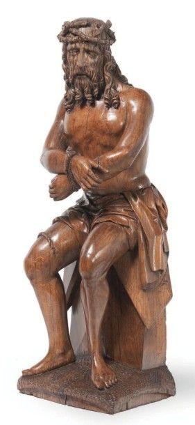 Beau Ch rist aux liens en chêne sculpté,...