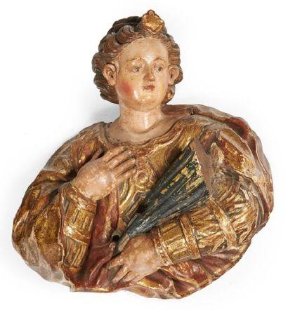 BUSTE DE SAINTE sculpté en applique en bois...
