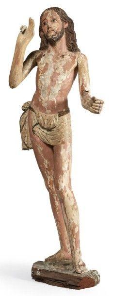 CHRIST RESSUSCITÉ en bois sculpté en ronde-bosse...