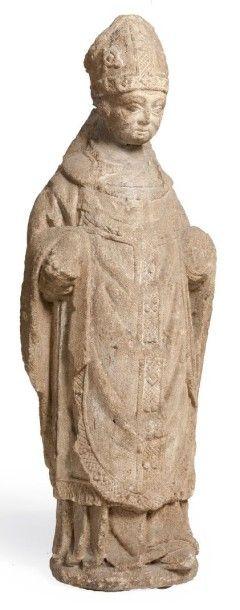 SAINT EVÊQUE en pierre calcaire sculpté en...