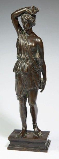 AMAZONE en bronze à patine brune translucide....