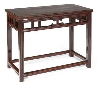CONSOLE de forme rectangulaire en bois verni,...