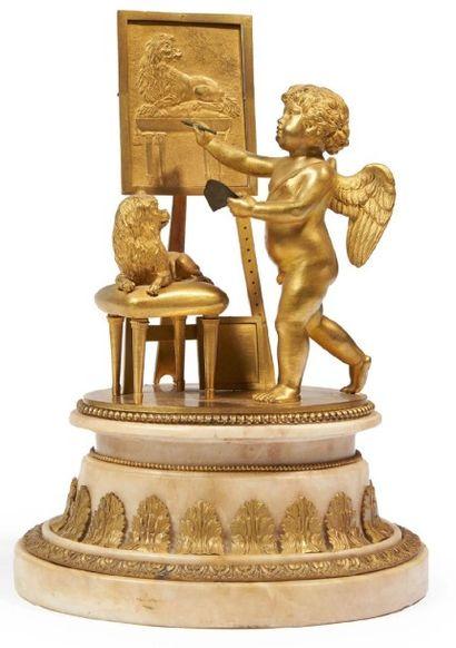 GROUPE en bronze doré représentant un amour...