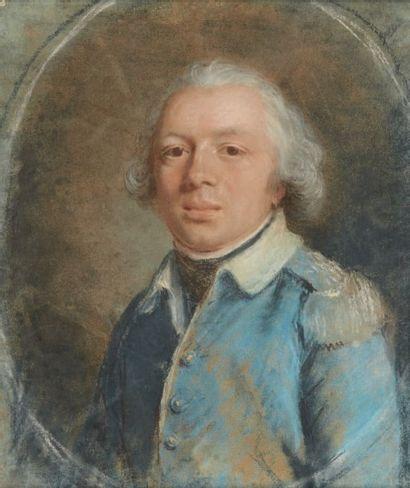 École FRANÇAISE du XVIIIe siècle Portrait d'un officier Pastel (usures). H_30,5 cm...