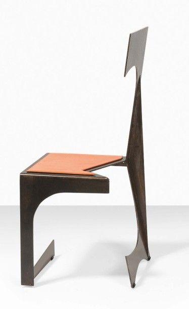 FRANCESCO MARINO DI TEANA (1920 - 2012) Chaise Architecturale, 1956 Acier verni à...