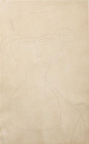 Amadeo MODIGLIANI (1884-1920) Portrait de Marcelle Lioni, 1916 Dessin au crayon sur...