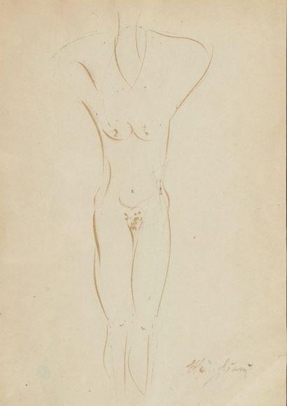 Amadeo MODIGLIANI (1884-1920) Femme athlète, circa 1915 Dessin à l'encre sur papier....