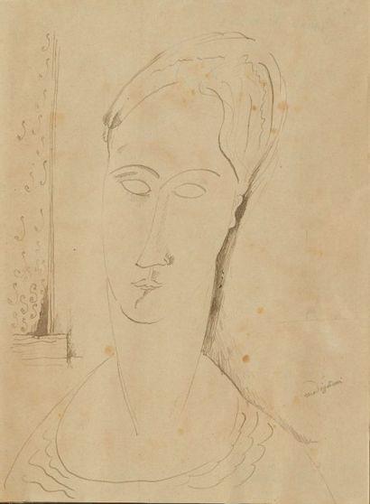 Amadeo MODIGLIANI (1884-1920) Portrait de femme, 1917 Technique mixte sur papier....