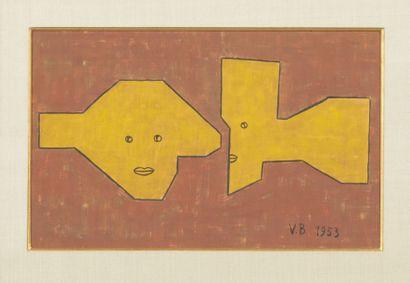 Victor Brauner (1903-1966) The secret, 1953 Peinture et feutre sur papier. Signé...