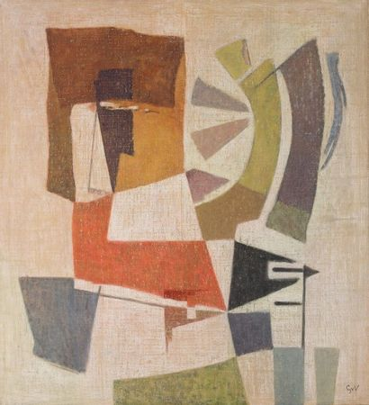 Geer van VELDE (1898-1977) Composition, vers 1958 Huile sur toile. Signée des initiales...