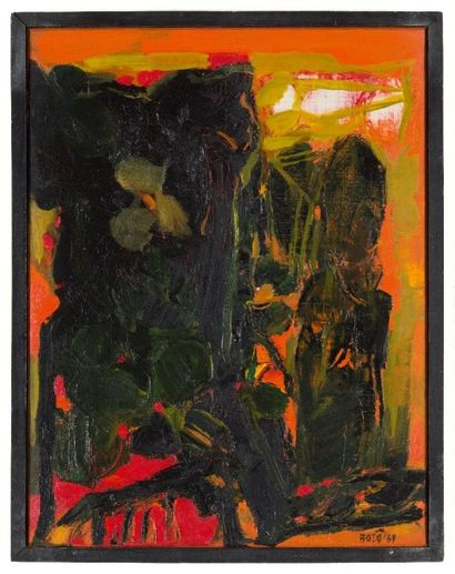 Sayed Haider RAZA (Né en 1922) Arbres, 1969 Acrylique sur toile. Signée et datée...