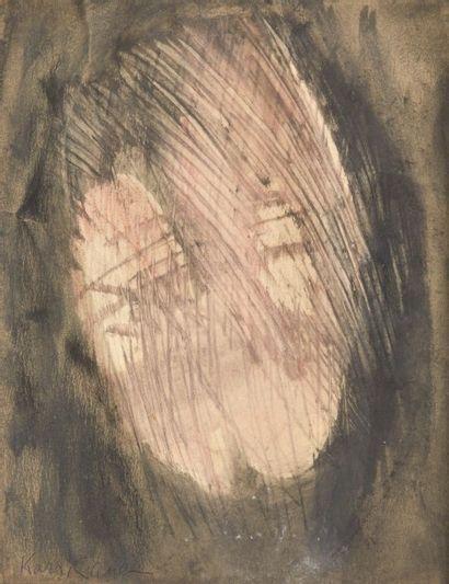 Ida Karskaya(1905-1990) Sans titre Peinture sur papier ondulé. Signée en bas à gauche....