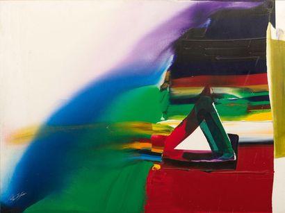 Paul JENKINS (1923-2012) Phenomena Prism Pyramid, 1984 Huile sur toile. Signée en...