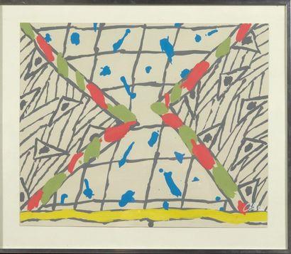 Pierre CELICE (né en 1932) Sans titre Peinture sur papier. Signée en bas à droite....