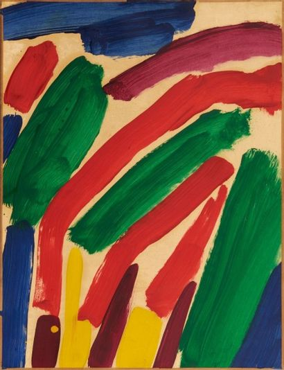 Alain JACQUET (1939-2008) Sans titre, 1961 Peinture sur papier marouflé sur toile....