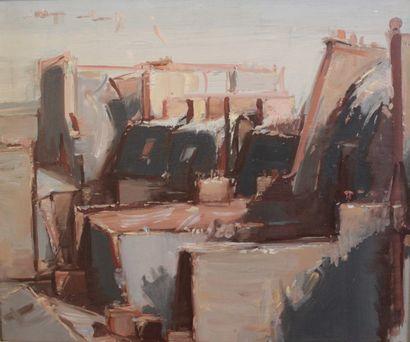 Jean HÉLION (1904-1987) Composition, 1961 Huile sur toile. Signée et datée en bas...