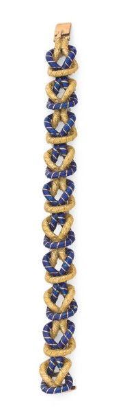 FULCO DI VERDURA ANNÉES 1950 Bracelet en or jaune 18K, articulé de maillons imbriqués...