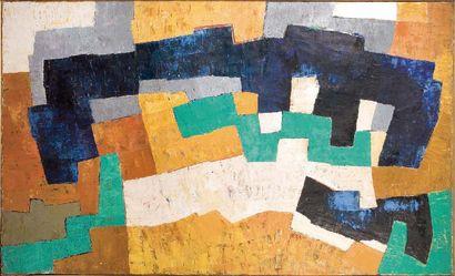 ANDRÉ BLOC (1896 - 1966) Composition abstraite Huile sur toile. H_88,5 cm L_146 cm...