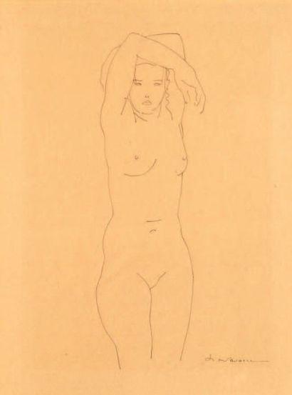 J. NAVARRA Nu Encre sur papier. Signée en bas à droite. H_45 cm L_33 cm