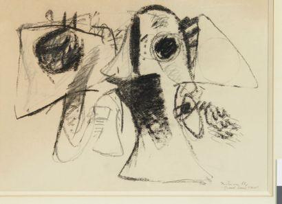 Albert BITRAN (né en 1929) Gravé dans l'Asie, 1966 Fusain sur papier. Signé et daté...