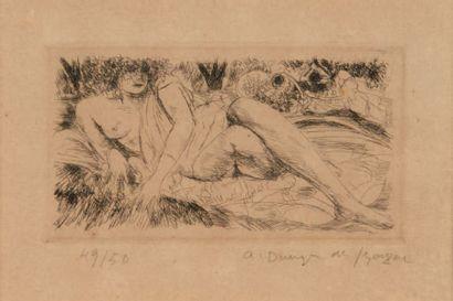DUNOYER de SEGONZAC Nu féminin allongé Gravure. Numérotée 49/50 en bas à gauche et...