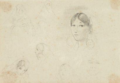 Eugène DELACROIX (1798-1863) Etudes de jeunes femmes Dessin au crayon noir. Cachet...