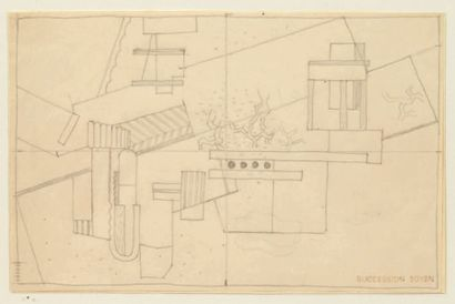 JINDRICH STRYRSKY (1899-1942) Paysage cubiste Crayon noir sur papier (calque?). Cachet...