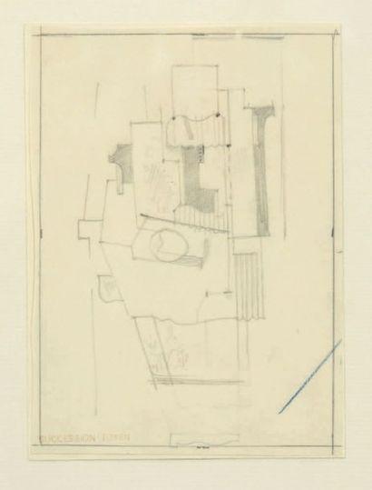 JINDRICH STRYRSKY (1899-1942) Composition cubique Crayon noir sur papier (calque?)....