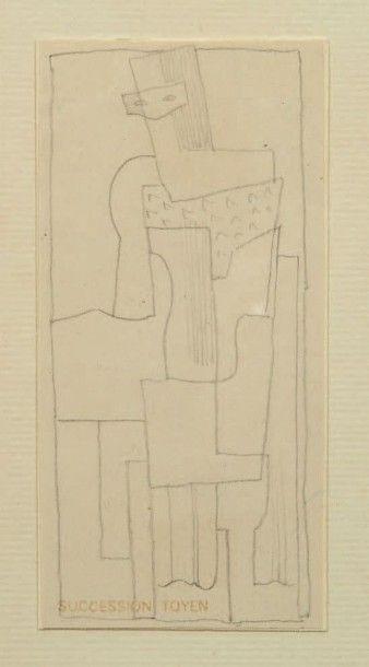 JINDRICH STRYRSKY (1899-1942) Personnage cubiste Crayon noir sur papier (calque?)....