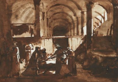 François-Marius GRANET (1775-1849) Scène dans un monastère Lavis d'encre brune. H_18,6...